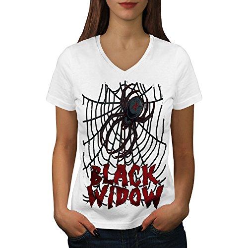 we Spinne Frau V-Ausschnitt T-Shirt Angst Grafikdesign-T-Stück ()