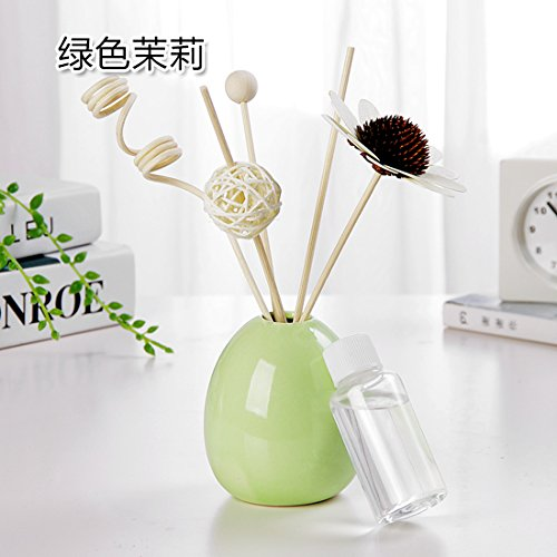 KXZDAS Keramik Flasche Feuer cane duftende Haushalt Toiletten trockenen blumigen Duft-Schlafzimmer Suite Parfüm Duft Flasche Grün Jasmin gewünschten Geschmack Schuß (Cane Schlafzimmer)