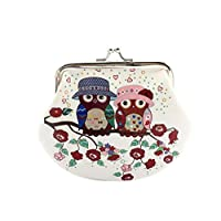 Owl Purse, Women Lady Girls Retro Vintage Mini Wallet Clutch Bag PU Leather Small Wallet Hasp Purse ID Card Coin Clutch Bag Handbag (C)