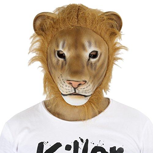 Löwe Maske,Cusfull Latex Löwe Maske Löwe Vollmaske Kopfmaske Tiermaske Erwachsenen Kostüm Zubehör für Halloween Fasching (Löwe Kostüme Maske)