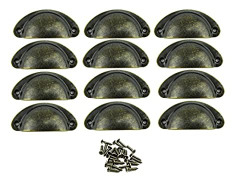 Paor 12Pcs Retro Vintage Furniture Cupboard Door Cabinet Drawer Pull Handles and Knobs Shell Shape with Screws Bronze 8*3*2 cm