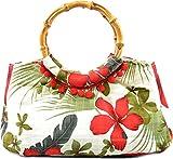Küstenluder Damen Tasche Alexis Hibiscus Bamboo Bag Creme