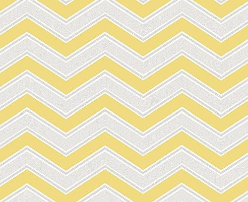 coloroll-zigzag-gris-et-jaune-papier-peint-chevron-m1144-fonction-moderne-design-contemporain