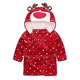 GWELL Kinder Fleece Bademantel mit Kapuze Tier Kostüm Schlafanzug Mädchen