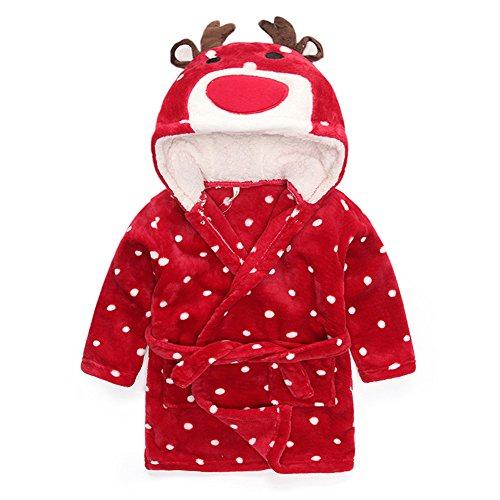 Flanell Kostüm Rote - X-Labor Kinder Baby Flanell Bademantel mit Kapuze Tier Kostüm Badetuch Kapuzenhandtuch Schlafanzug Nachtwäsche für Mädchen Jungen Rot Reh 110