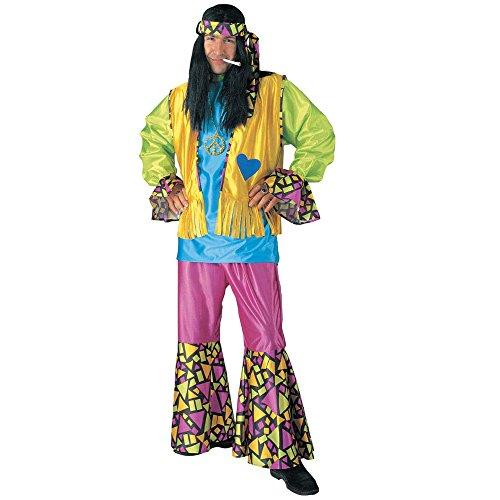 WIDMANN 39961 - Erwachsene Kostüm Hippie Boy, Hemd, Weste, Hose und Stirnband, ()