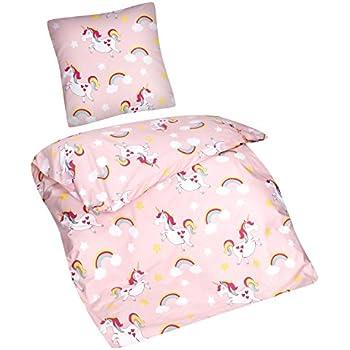 139c35608d Aminata Kids - Kinder-Bettwäsche-Set Einhorn | 135-x-200 cm |  Mädchen-Teenager-Bettwäsche mit Regenbogen & Wolken | aus 100-% Baumwolle |  bunt, ...