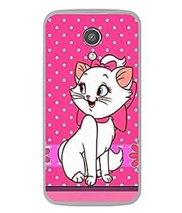 PrintVisa Designer Back Case Cover for Motorola Moto G2 :: Motorola Moto G (2nd Gen) (Pink Design Of Cute Cat With Bow)