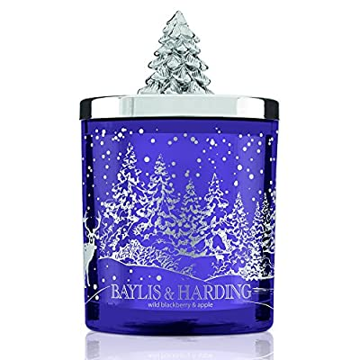 Baylis & Harding Festive Scented Candle Jar  with Christmas Tree Lid, Wild Blackberry and Apple from Baylis & Harding