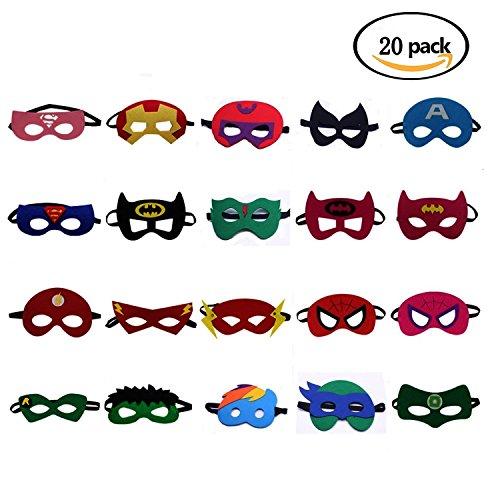 asken Filz Maske Kostüme für Kinder Superhero Cosplay Party Augenmasken 20 Stück - latexfrei, perfekt für Kinder ab 3 Jahren (Super Girl Party Supplies)