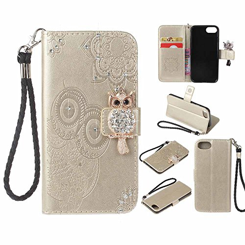 iPhone 8 Plus Custodia, COOSTOREEU 3D Glitter Gufo e Mandala Embossing Premium PU Custodia in Pelle Card Slot Magnetica Portafoglio Flip per Apple iPhone 8 Plus,Grigio Dorato