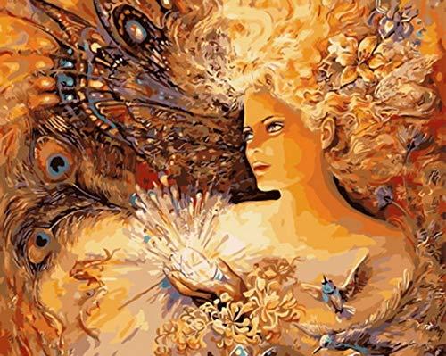 Rahmenlose Bild Ölgemälde by Zahlen Wanddekor DIY Malerei Auf Leinwand Für Wohnkultur Pfau Dame 40x50cm (16 * 20')
