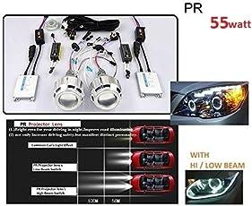 PR Hid Headlight Projector Lens High Power 55 Watts Double Angel Eye Full Kit Super White Light -Universal Fitment for All Cars