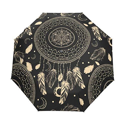 BIGJOKE Paraguas Plegable de Cierre automático con diseño étnico de atrapasueños con Plumas, Resistente al Viento, Ligero, antiUV, Protector de Lluvia, Paraguas Compacto para niños y niñas