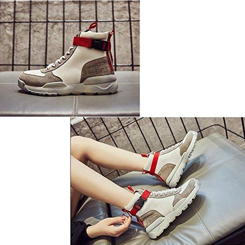 LIANGJUN Scarpe Da Ginnastica Scarpe Da Donna Fondo Spesso Sport All'aperto, 2 Colori Disponibili, 6 Dimensioni ( Colore : Nero , dimensioni : EU38=UK5.5=L:240mm ) Bianca