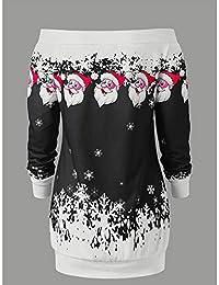Zehui Vestido de Mujer de Navidad, Vestido sin Hombro Corto de Moda, Vestido de Moda de Manga Larga Casual Santa 2018 últimos moldes…