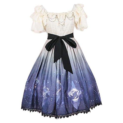 Partiss Damen Suesses Lolita Kleid Prinzessin Roecke Cosplay Kostueme,S,Kurz Huelse Apricot