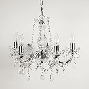 Marie therese 5 light crystal chandelier ceiling light with chrome marie therese 5 light crystal chandelier ceiling light with chrome trim mozeypictures Image collections