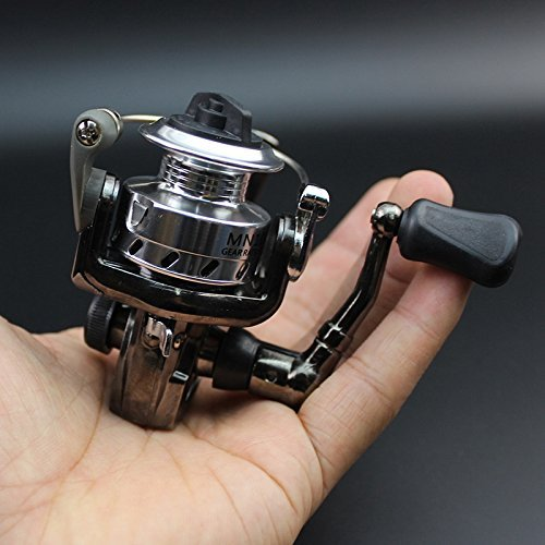 Mini Ultra Smooth Lightweight Powerful Collapsible Handle Fishing Spinning Reel Black