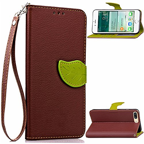 iPhone 7 Plus Case, CaseFirst Copertura di vibrazione in cuoio della borsa del caso del raccoglitore del foglio [Funzione del basamento] [Slot di carta] [Cinghia di polso] (Marrone)