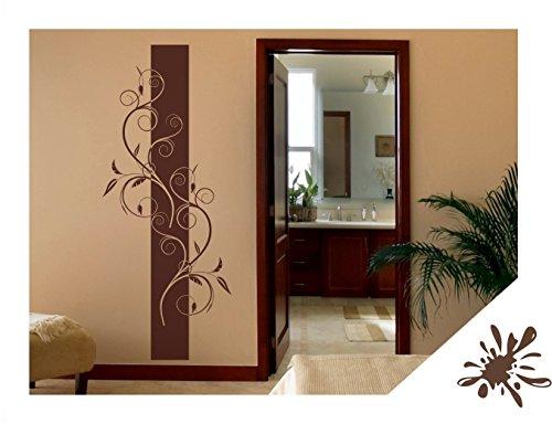 Exklusivpro Wandtattoo Wandbanner Blumen Ranke Wohnzimmer Schlafzimmer Bordüre (ban31 braun) 150 x 62 cm mit Farb- u. Größenauswahl