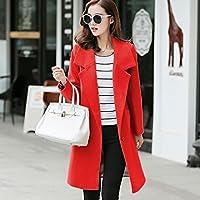 XMDXZWLA Coat Neue Art- und Weisefrauen-Warme Wollen-Mischungs-Einfachheit Lang Hülsen-Mantel-Frauen Nehmen die Taschen ab, die Dünnen Damen-Formalen Wollmantel Verdicken