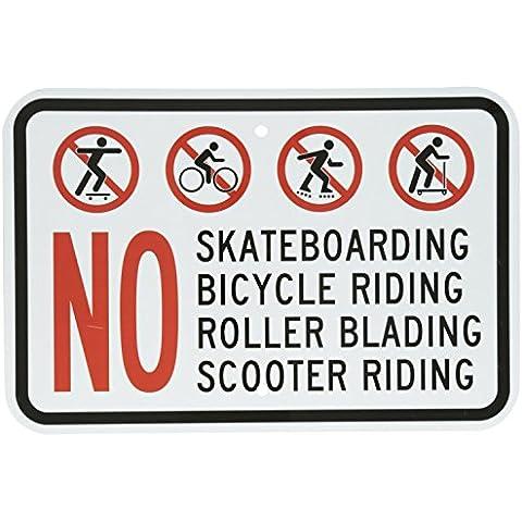 Cartello in alluminio, Legend No pattinaggio Bicicletta Scooter Protettivo da equitazione con grafica, 30,5x 45,7cm Nero/Rosso su bianco