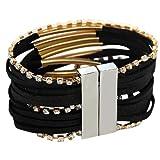 Morella Damen Armband im Ibiza Style Brasilien Look - Schwarz Gold -
