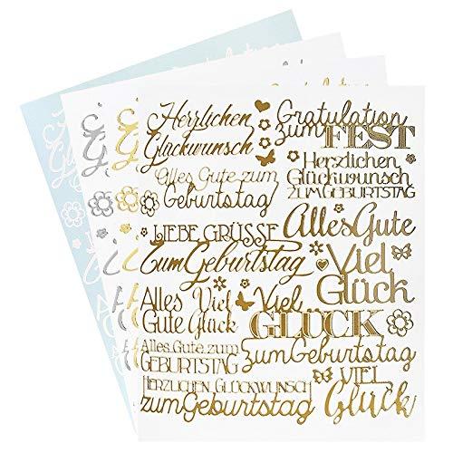 Ideen mit Herz Sticker Handlettering Art | Aufkleber | Verschiedene Schriftzüge zur Hochzeit, Liebe, Trauer, Weihnachten, Ostern UVM. | Jeweils 4 Bogen à 20 x 23 cm (Gratulationen | Liebe Grüße)