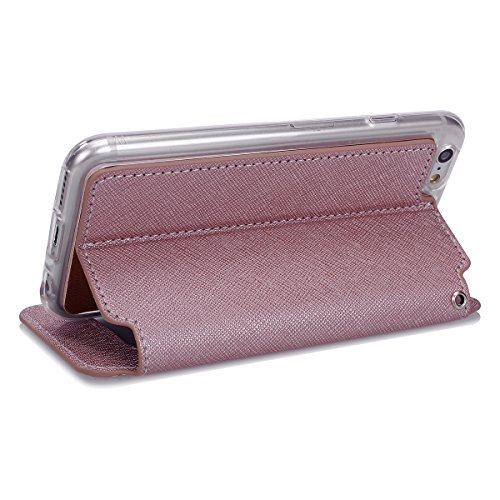 Handyhülle iPhone 6S 4.7 Hülle iPhone 6,SainCat Ultradünne Ledertasche Brieftasche im BookStyle PU Leder Wallet Case Lederhülle Folio Reliefprägung Rebe Schutzhülle Hülle Bumper Handytasche(Schale Tra Rosengold