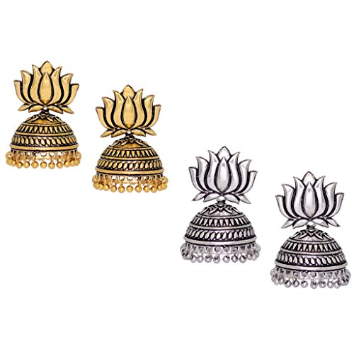 Fashion Honor 25.00 Grams Beautiful Oxidised Gold & Silver Lotus Jhumka Jhumki...