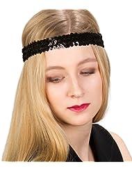 """SIX """"Party"""" Damen Haarband, Haarschmuck, Stirnband, 20er Jahre Schmuck, Great Gatsby inspiriert, elastisch in schwarz mit Glitzer Pailletten (456-335)"""