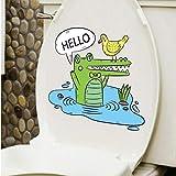 Zhangsanlisi Cartoon Krokodil Toilette Aufkleber Umweltschutz Wasserdichte Wandaufkleber Kunst Wanddekoration Schrank Badezimmer Dekoration 2 Stücke