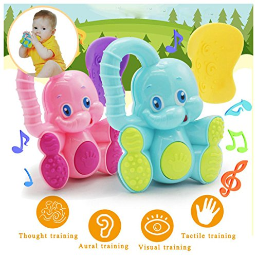 Tefamore Sicherheit Baby Kleinkind Beißring Hand schütteln Glocke Ring Funny Educational Elephant Toy