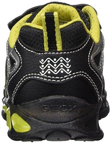 Geox J Shuttle A, Sneakers Basses Garçon Noir (Black/lime)