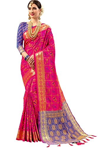 EthnicJunction Double Ikat Vibrant Dholak and Sitar Woven Patola Silk Saree With...