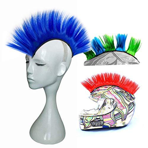 3T-SISTER Helm Mohawk Perücke Motorradkleber Mohawk Haar Patches Skinhead Kostüme Perücke Blau