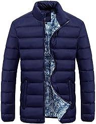 chaquetas hombre Sannysis Chándal Para Hombre abrigos invierno largos de color Parka (azul, 2XL)