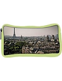 Snoogg Eco Friendly Canvas Paris City Designer Student Pen Pencil Case Coin Purse Pouch Cosmetic Makeup Bag