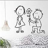 Cmhai Oferta Especial Limitada El Niño Regala La Flor A La Niña Pegatinas De Pared Decoración Del Hogar Romántico Cartoon Diy Sala De Estar Calcomanía44 * 39 Cm