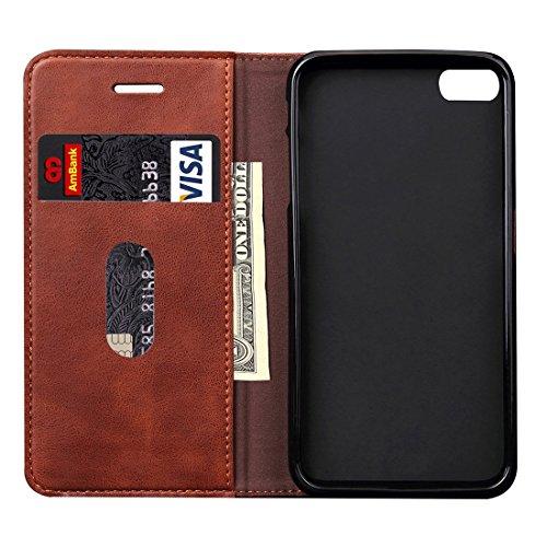 Phone case & Hülle Für iPhone 6 Plus / 6s Plus, Retro Verrückte Pferd Textur Magnetische Adsorption Horizontale Flip Leder Tasche mit Card Slot & Holder & Wallet ( Color : Red ) Coffee