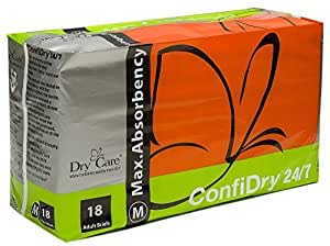 Dry Care®ConfiDry 24/7 Max AbsorbencyAdult Brief Diapers, Medium Size, 2-Pieces (Samples) by Dry Care