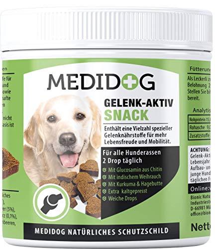 Medidog 400g Premium Gelenk-Aktiv Drops für Hunde, extra kaltgepresst und getreidefrei, für mehr Mobilität u. Bewegungsfreude, mit Gelenkpulver und Gelenktabletten, MSM, Grünlippmuschel, Kurkuma