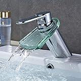 BFDMY Badezimmer Waschbecken Wasserhahn Waschtischarmatur aus Messing Flacher Mund Glas Wasserfall Wasserhahn heißes und kaltes Wasser,SilverFaucet