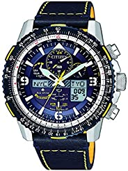 CITIZEN Mens Solar Powered Watch, Analog- Digital Display and Leather Strap - JY8078-01L