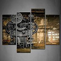4 Panneau Steampunk London Machine Old Factory Art Peinture Murale l'image Imprimée sur Toile Architecture Artwork…