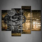 4 Panel Wall Art Metallurgical Firm Waiting for A Demolition Machine Old Factory Painting Pictures Print on Canvas Architecture The Picture for Home Modern Decoration Piece Wooden Frame Ready to Hang