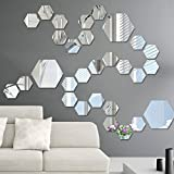 Kicode 12pcs 3D acrílico Hexagonales espejo de pared Las etiquetas engomadas DIY Mural del arte del arte Inicio Sala de estar Dormitorio Regalos de decoración de la decoración