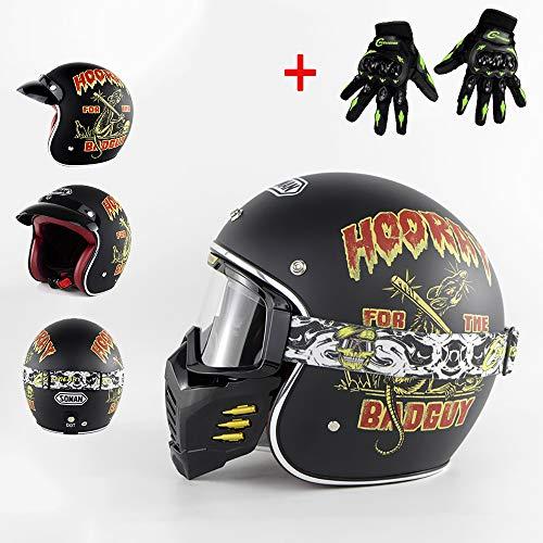 WLY Harley Helm Jethelm/Lokomotive Helm/DOT Kreuzer Motorradfahrer Retro Bobber Chopper Mofa Vintage Vespa Sturzhelm mit Maske Brille + Handschuhe,XXL