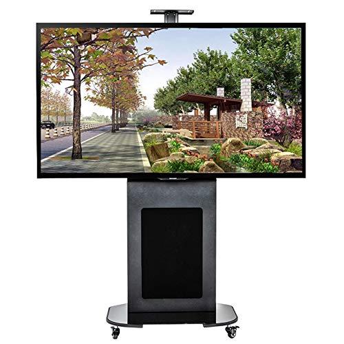 Entertainment-konsole Plasma Lcd (XUE Rolling TV Stand Mobile TV Card für LCD LED Plasma Panel flach mit Regal passt 40 bis 80 Zoll 360 Grad drehbar Höhe verstellbar Schlafzimmer Wohnzimmer Büro Konferenzraum)